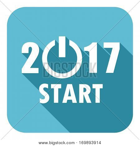 2017 new year start icon. Square flat design blue vector button with shadow on white background for web and applications in eps10.