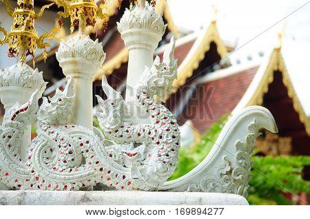 King Of Nagas Statue In Wat Pha Dara Bhirom Temple