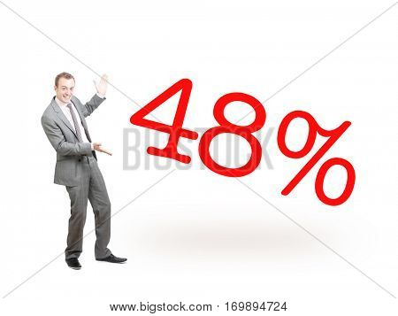 A businessman proudly presenting 48%