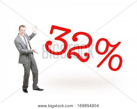 A businessman proudly presenting 32%