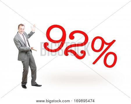 A businessman proudly presenting 92%
