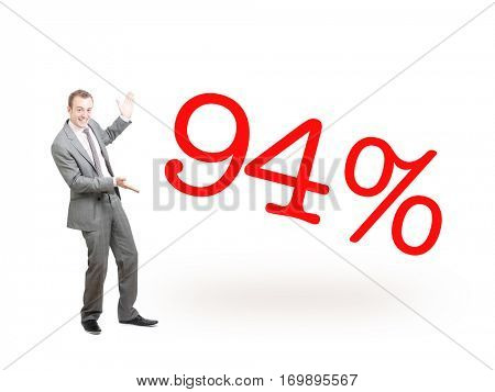 A businessman proudly presenting 94%