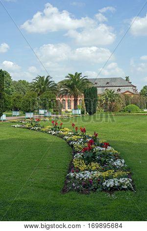 Orangerie and Orangerie garden in Darmstadt (Hesse, Germany)
