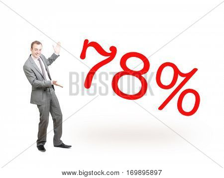 A businessman proudly presenting 78%