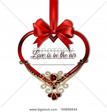 Vector illustration of hanging on satin ribbon bow heart with the words love in the air, decorated with precious stones and gold