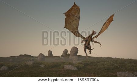 3d illustration of the fantasy dragon on grassy terrain with stones