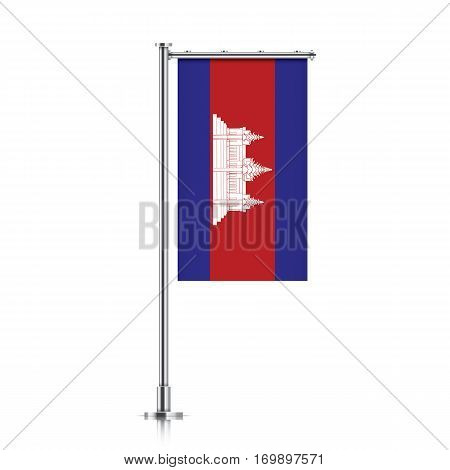 Cambodia vector banner flag hanging on a silver metallic pole. Vertical Cambodia flag template isolated on a white background.