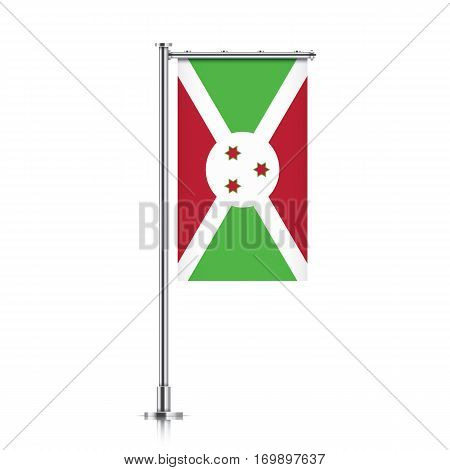 Burundi vector banner flag hanging on a silver metallic pole. Vertical Burundi flag template isolated on a white background.