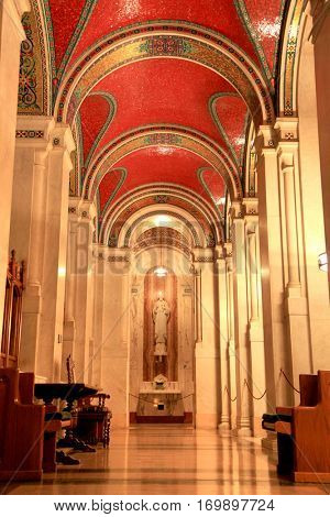 Saint louis - April 29 :Cathedral Basilica of Saint Louis, decorated with 41.5 million mosaics,Covering 83,000 sq ft , is the largest mosaic collection in the world . April 29,2016 Saint Louis, USA
