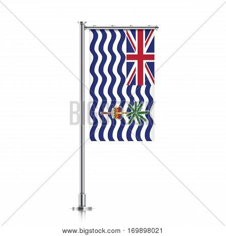 British Indian Ocean Territory vector banner flag hanging on a silver metallic pole. Vertical British Indian Ocean Territory flag template isolated on a white background.