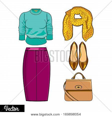 Illustration stylish and trendy clothing. Skirt, shawl, sweater, jumper, high-heeled shoes, bag. Silhouette of dresses made in modern flat vector style. Fashion vector Illustration