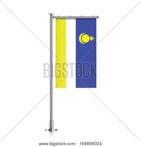 Buryatia vector banner flag hanging on a silver metallic pole. Vertical Buryatia flag template isolated on a white background.