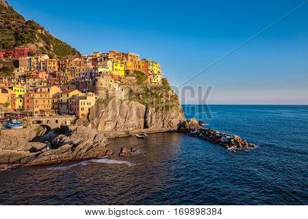 Sunset At Manarola Village In Cinque Terre, Italy