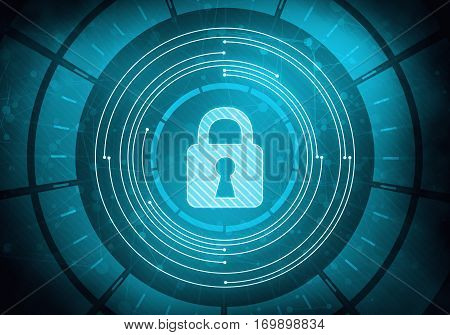 Abstract digital concept touch screen circle interface with internet data security and safety lock on circuit microchip background. For branding graphic design.