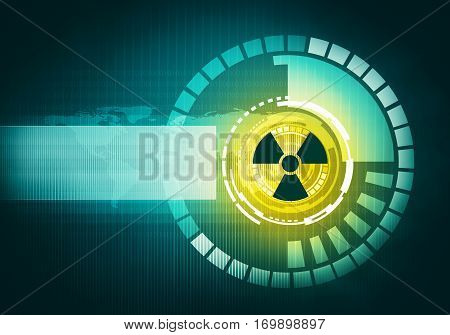 Abstract digital concept atomic futuristic virtual graphic touch user interface with radioactive danger sign in circle and place for text