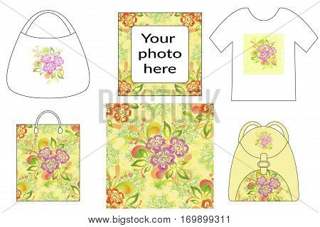 Holiday Background, Symbolical Colorful Flowers and Leaves, Presented in Tank Top, Shopping Bag, Handbag and Backpack with Abstract Floral Seamless Patterns. Eps10, Contains Transparencies. Vector