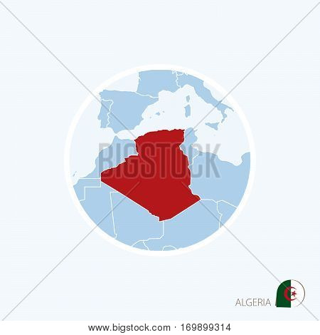 Map Icon Of Algeria. Blue Map Of Europe With Highlighted Algeria In Red Color.
