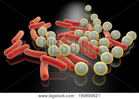 Microbes of different shapes. Rod-shaped and spherical bacteria on a plane with reflections. 3D illustration