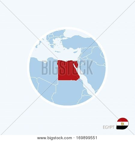 Map Icon Of Egypt. Blue Map Of Europe With Highlighted Egypt In Red Color.