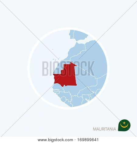 Map Icon Of Mauritania. Blue Map Of Europe With Highlighted Mauritania In Red Color.