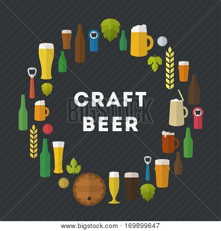 Flat craft beer illustration. Retro vector craft beer emblem in flat style. Beer glasses, bottles, ingredients and accessories.
