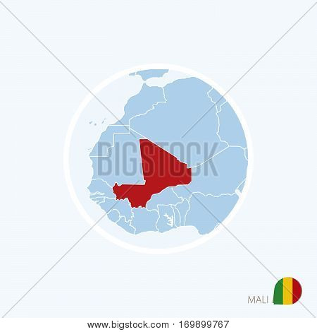Map Icon Of Mali. Blue Map Of Europe With Highlighted Mali In Red Color.