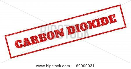 Red rubber seal stamp with Carbon Dioxide text. Vector caption inside rectangular frame. Grunge design and unclean texture for watermark labels. Inclined sticker.