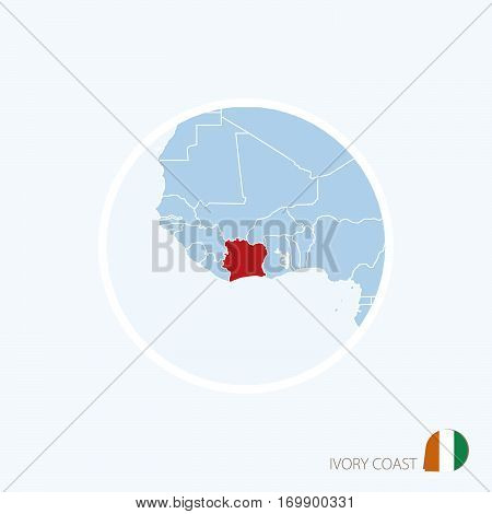 Map Icon Of Ivory Coast. Blue Map Of Africa With Highlighted Ivory Coast In Red Color.
