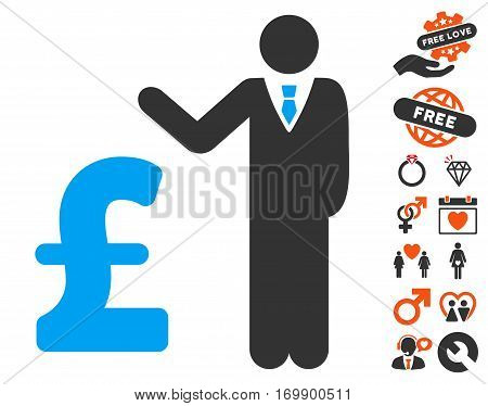 Pound Banker pictograph with bonus dating images. Vector illustration style is flat iconic symbols for web design app user interfaces.