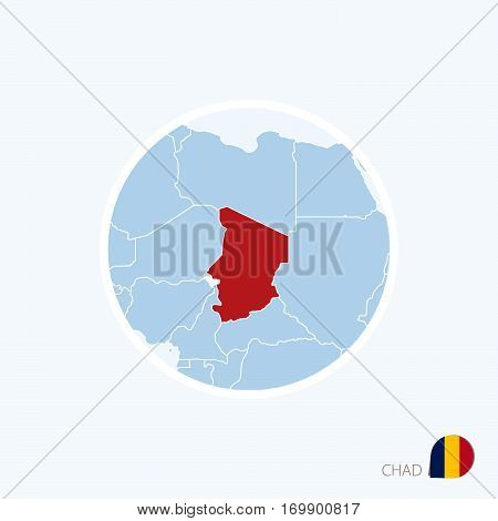 Map Icon Of Chad. Blue Map Of Africa With Highlighted Chad In Red Color.