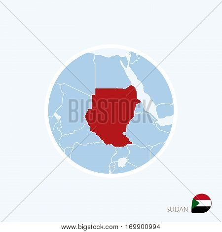 Map Icon Of Sudan. Blue Map Of North Africa With Highlighted Sudan In Red Color.