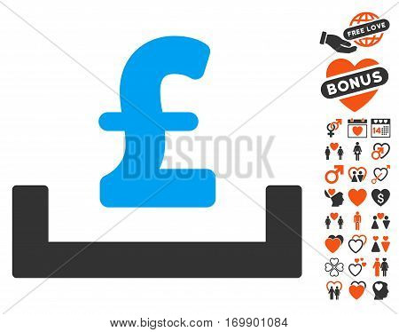 Pound Deposit Placement pictograph with bonus dating clip art. Vector illustration style is flat iconic elements for web design app user interfaces.