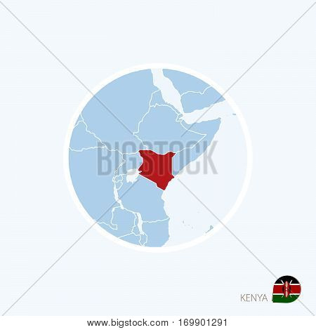 Map Icon Of Kenya. Blue Map Of Africa With Highlighted Kenya In Red Color.