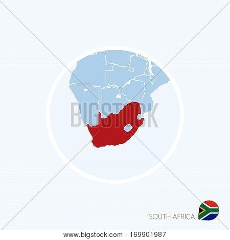 Map Icon Of South Africa. Blue Map Of Africa With Highlighted South Africa In Red Color.