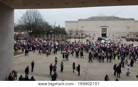 WASHINGTON DC - JANUARY 21, 2017: High angle view of protesters participating in the Women's March on Washington DC, from the Museum of Modern Art