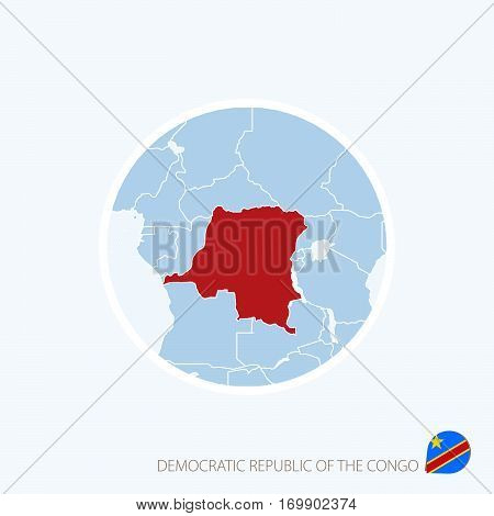 Map Icon Of Democratic Republic Of The Congo. Blue Map Of Central Africa With Highlighted Dr Congo I
