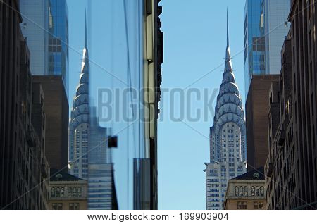 New York, New York- February Fourth: The Chrysler Building and the reflection of the Chrysler Building seen in glass architecture. February 4th 2017, NYC.