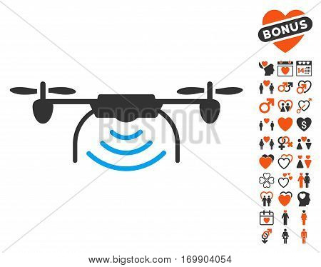 Radio Transmitter Airdrone icon with bonus romantic clip art. Vector illustration style is flat iconic symbols for web design app user interfaces.