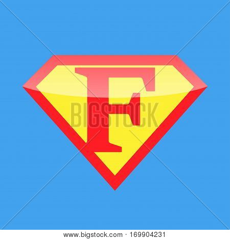 Superhero logo with the letter F. Vector illustration