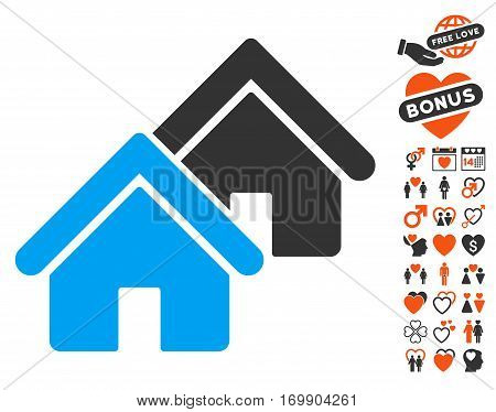 Realty icon with bonus decoration images. Vector illustration style is flat iconic symbols for web design app user interfaces.