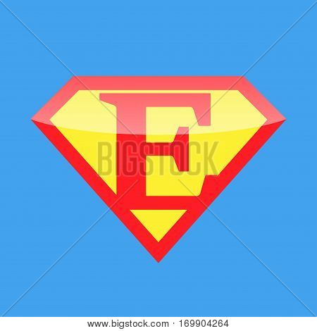Superhero logo with the letter E. Vector illustration