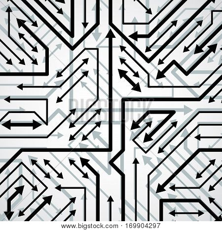 Vector electronic pattern with microchip scheme circuit board high tech futuristic background. Digital connections and arrows.