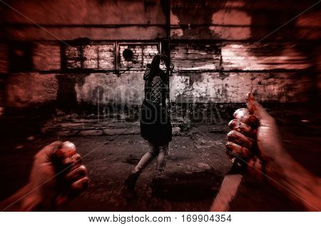 Murderer, holding a knife, face to face with a terrified woman in a trap. Colored Grained Picture