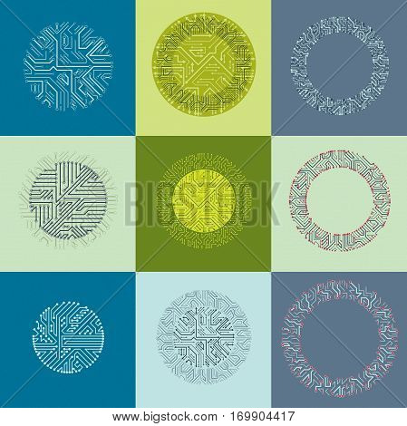 Technology communication cybernetic elements collection with arrows. Set of vector abstract circuit boards in the shape of circles.