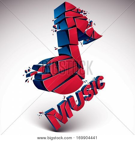 3D Vector Red Shattered Musical Notes With Music Word. Art Melody Transform Symbol Broken Into Piece