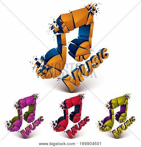 Set Of 3D Vector Shattered Musical Notes With Music Word. Art Melody Transform Symbols Broken Into P