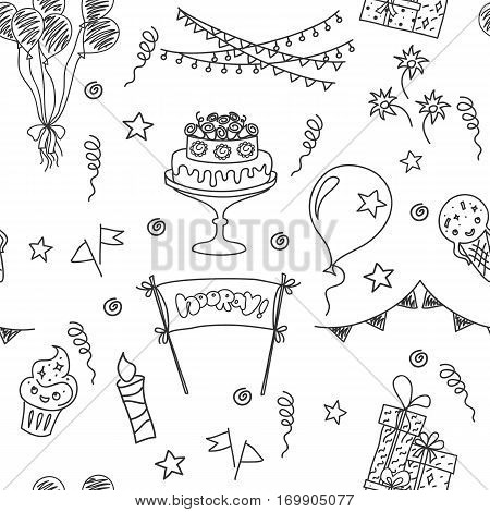 Birthday seamless pattern elements. Hand drawn set with birthday cake, balloons, gift and festive attributes. Children drawing doodle collection.