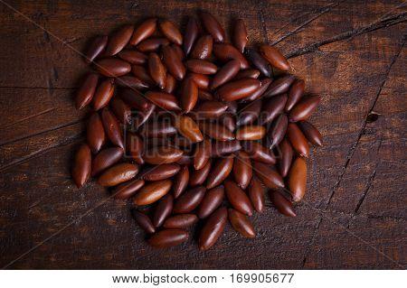 Baru Almond On Wooden Background