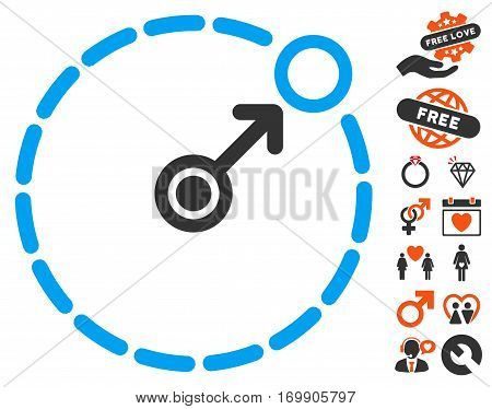 Round Area Border pictograph with bonus passion pictograph collection. Vector illustration style is flat iconic elements for web design app user interfaces.
