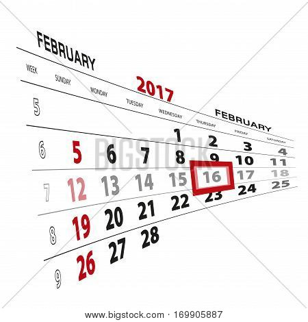 February 16, Highlighted On 2017 Calendar.